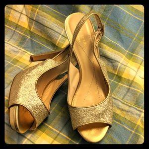 "Sz 8 Kate Spade 4.5"" Heels Gold Glitter Slingbacks"